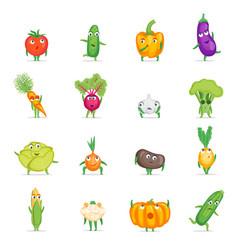 cartoon fresh healthy vegetables characters set vector image vector image