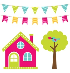 Cute house and tree set vector image vector image
