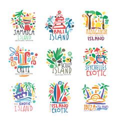 Exotic islands summer vacation colorful logo set vector