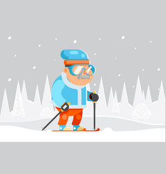 granny skiing adult skier winter sports healthy vector image vector image