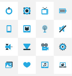 Media colorful icons set collection of cast vector