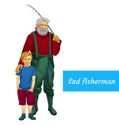 Sad father and son fishing together two character vector image