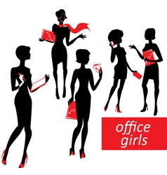 Set of fashionable business girls silhouettes on a vector image vector image