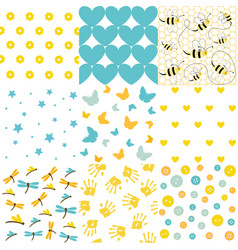 baby shower set of seamless backgrounds vector image