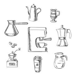 Beverage sketch icons around the coffee machine vector image vector image