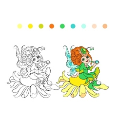 Cartoon fairy coloring page vector image vector image