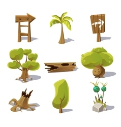 Cartoon nature elements objects on white vector image vector image