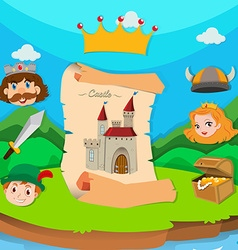 Castle theme with king and princess vector