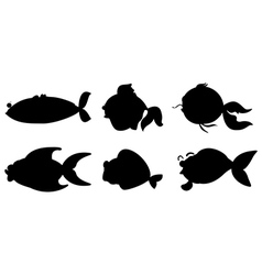 Different fishes in black color vector image