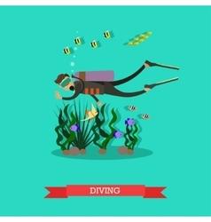 diver swimming underwater vector image