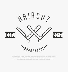 hipster logo for barber shop with cut throat razor vector image vector image