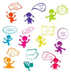 kids with chat bubbles with positive messages vector image