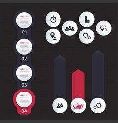 Vertical timeline 1 2 3 4 steps infographics vector