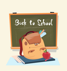 back to school backpack over class board education vector image vector image