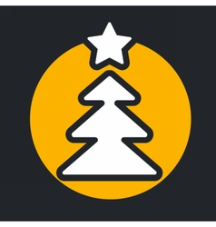 christmas circle yellow icon new year vector image