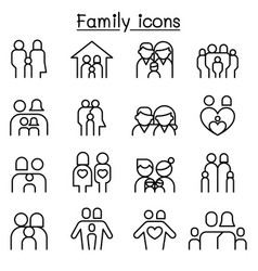 family people icon set in thin line style vector image vector image