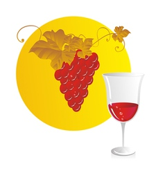 Red wine and grapes vector image vector image