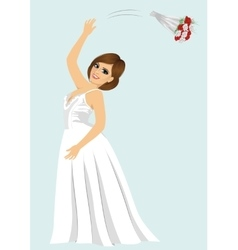 young bride woman throwing rose bouquet vector image vector image