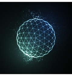 3D illuminated sphere of glowing particles vector