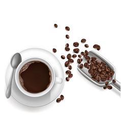 3d realistic cup coffee sccop vector