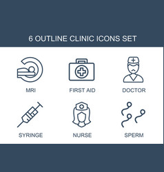 6 clinic icons vector image