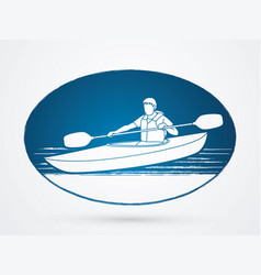 A man kayaking kayak boat kayaker graphic vect vector