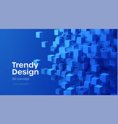 abstract geometric background with blue 3d flying vector image