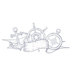 anchor steering wheel and compass decorated with vector image