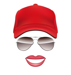 Baseball cap Glasses and lips isolated on white vector image