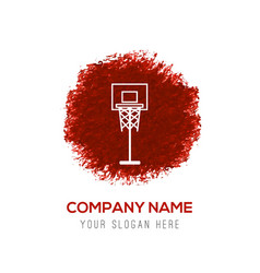 basketball basket icon - red watercolor circle vector image