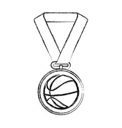 Basketball medal isolated icon vector