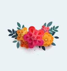 Beautiful bouquet of paper flowers vector