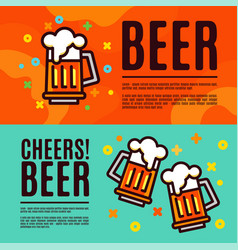 Beer in glass mugs set banner vector