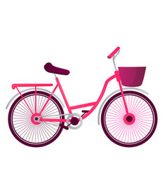 bicycle with basket isolated on white background vector image