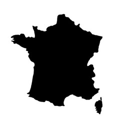 Black silhouette country borders map of france on vector