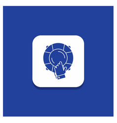 blue round button for emergency guard help vector image