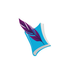 books and feather vector image