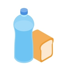 Bread and water for refugees icon isometric style vector image