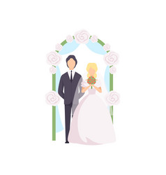 bride and groom standing near wedding arch at vector image