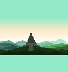 Buddha in meditation statue silhouette on top vector