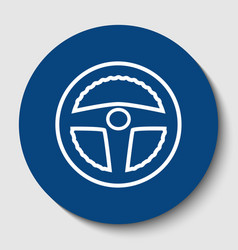car driver sign white contour icon in vector image