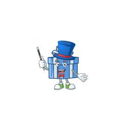 Cartoon character blue gift box magician style vector