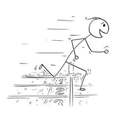 cartoon man winning race run vector image