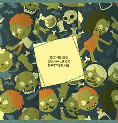 Cartoon zombie seamless pattern halloween vector
