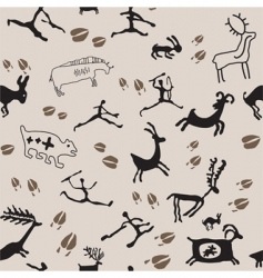 cave painting hunters and anima vector image