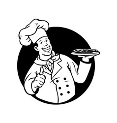 Chef Cooking Pizza Black White vector
