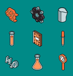 chemical color outline isometric icons vector image