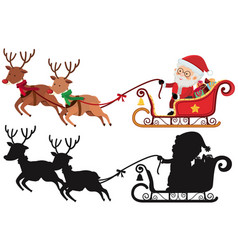 Christmas silhouette with santa and reindeers vector