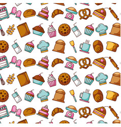 collection food and bakery kitchen seamless vector image