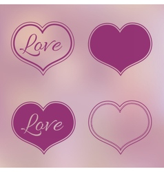 Collection of Pink Hearts on Blur Background vector